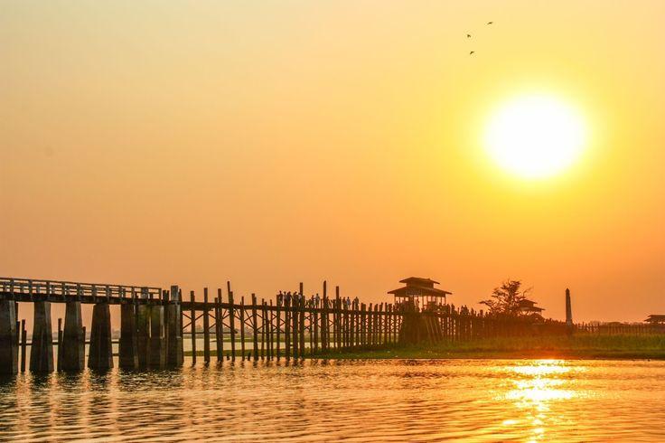 Amarapura, Myanmar Längste Teakholz-Brücke