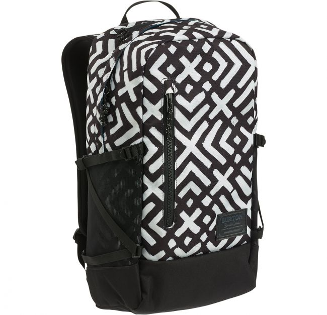 Burtonin Prospect Pack -malliston tilava reppu, mihin mahtuu kaikki tarpeellinen. Taskuihin on kätevä järjestellä tavarat ja reppuun saa pehmustetun tilan taakse myös joko kannettavan tai tabletin.  Burton Prospect Pack, Geo Print - BeBag.fi