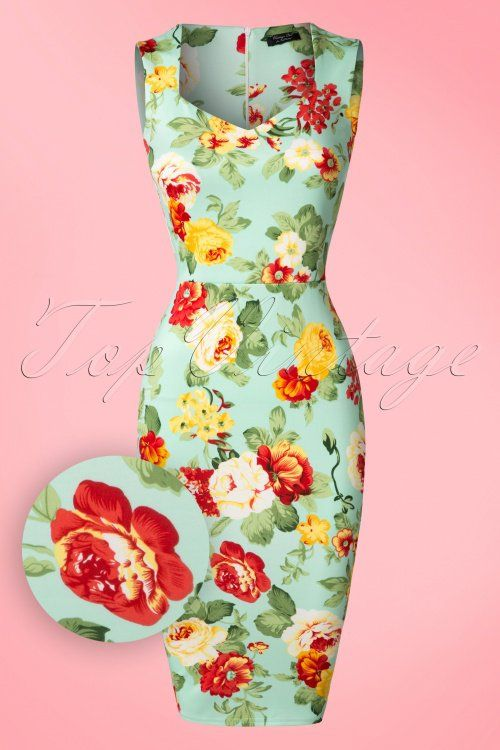 Vintage Chic - 50s Veronica Floral Pencil Dress in Mint
