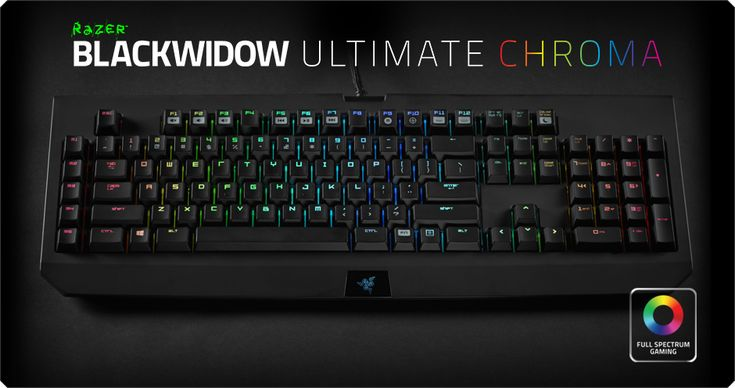 Razer BlackWidow Chroma STEALTH features individually programmable backlit keys with 18.8 million color option, and the new Razer mechanical switches with 50g actuation force. $169.99