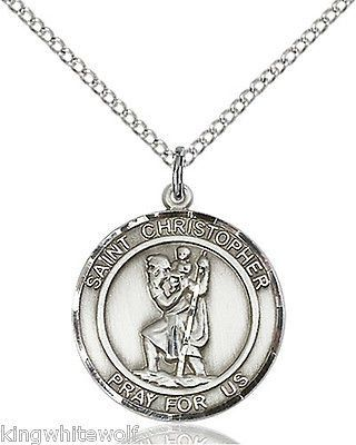 Bliss St Christopher Patron Saint Sterling Silver Medal Pendant Necklace w/Chain