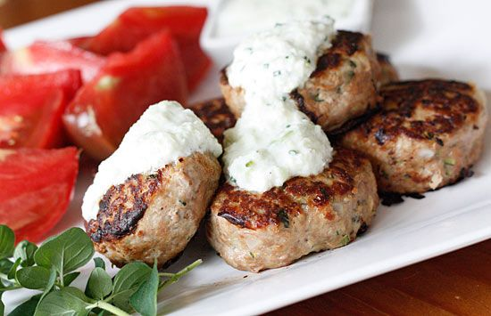 Greek Turkey Meatballs | Skinnytaste  I have made these w/ the Tzatziki.  They are awesome.  Didnt have zucchini, made with lots of herbs. Yum!