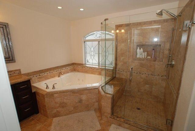 Bathroom With Corner Tub And Shower Wonderful 12 On Corner Tub & Shower Seat Master Bathroom Reconfiguration Yorba Linda