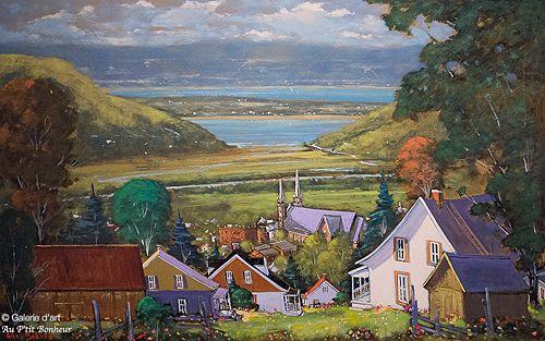 """Gilles Bédard - """" Un village entre deux montagnes, Baie-St-Paul, Charlevoix """""""