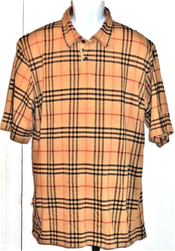 Vintage Burberry Signature Plaid Golf Polo Shirt 100% Cotton Men s XXL   Burberry  PoloGolfShirt 124ce2e794e