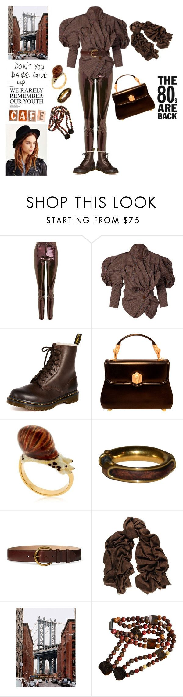 """""""The 80s are Back"""" by taci42 ❤ liked on Polyvore featuring Topshop, Vivienne Westwood, Dr. Martens, Kieselstein-Cord, Nach, Hermès, Polo Ralph Lauren, Black, brown and jacket"""