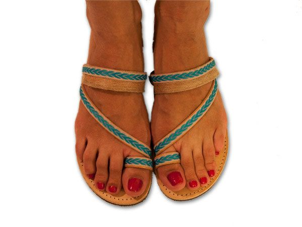 Greek sandals, turquoise leather sandals, boho sandals, indian sandals, bohemian sandals, hippie sandals, strappy sandals, TINOS