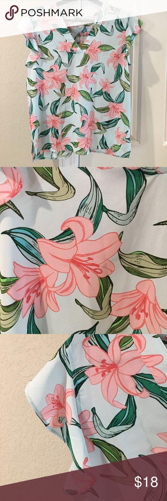 Super cool & cute hibiscus print blouse - New! XL I bought this super cute blouse, hibiscus print, perfect cool & Hawaiian and it didn't fit. SZ XL, new never worn (Q) c & e Tops Blouses
