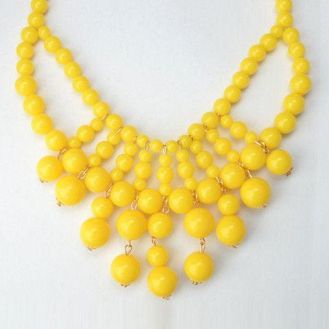 Bohemian Style Beaded Multi-Strands Boho Necklace - Yellow- Ohsoho