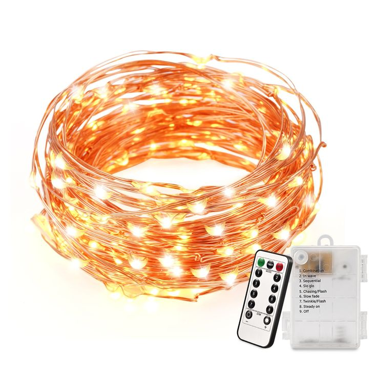 String Light, Magicfly 120 Micro LED Battery Powered Copper Light with Remote Control, Dimmable Starry String Light with Timer, 8 Lighting Mode Waterproof, Perfect for Outdoor and Indoor Decor