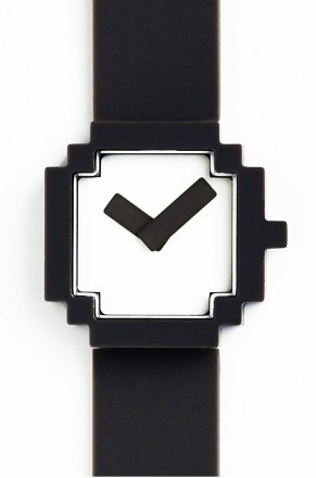 A graphic image turns into a real product.  This minimal design watch-face is inspired by a computer icon. Black & White are available.  With a typically Japanese design, this watch is so simple and has a great personality.  £55.00