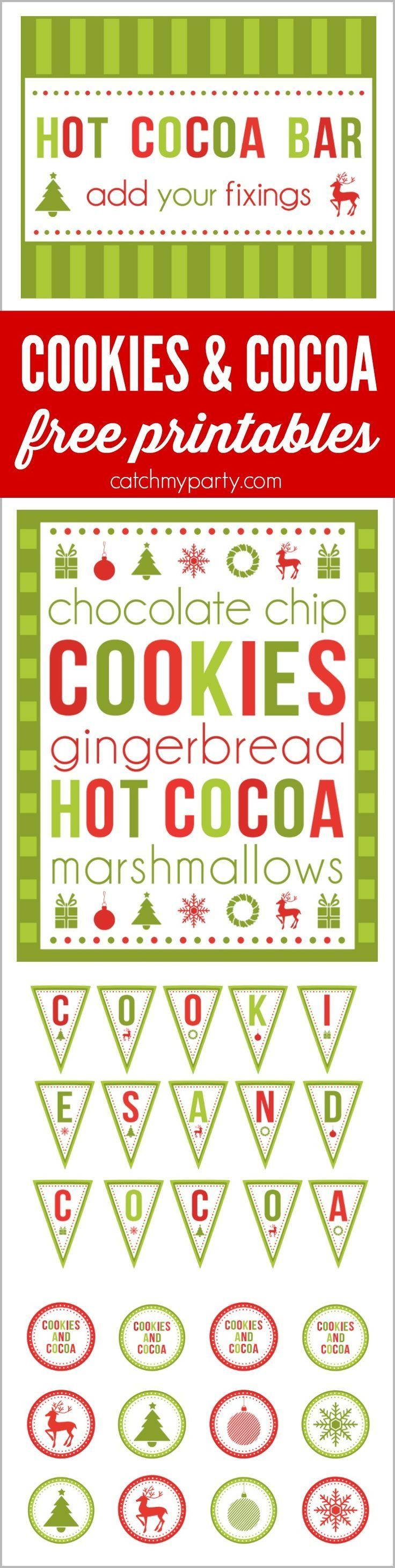 Free printables to host your cookies and cocoa holiday party.  There are editable holiday invitations and editable cards for your hot cocoa bar, plus banners, favor tags, and more! This is the perfect way to throw a  cookie exchange party for the holidays for kids, families or adults! See more party ideas at http://CatchMyParty.com.