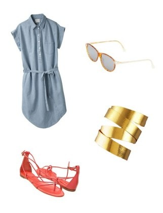 Off-set a neutral chambray with bright sandals and metallic accessories. These vintage