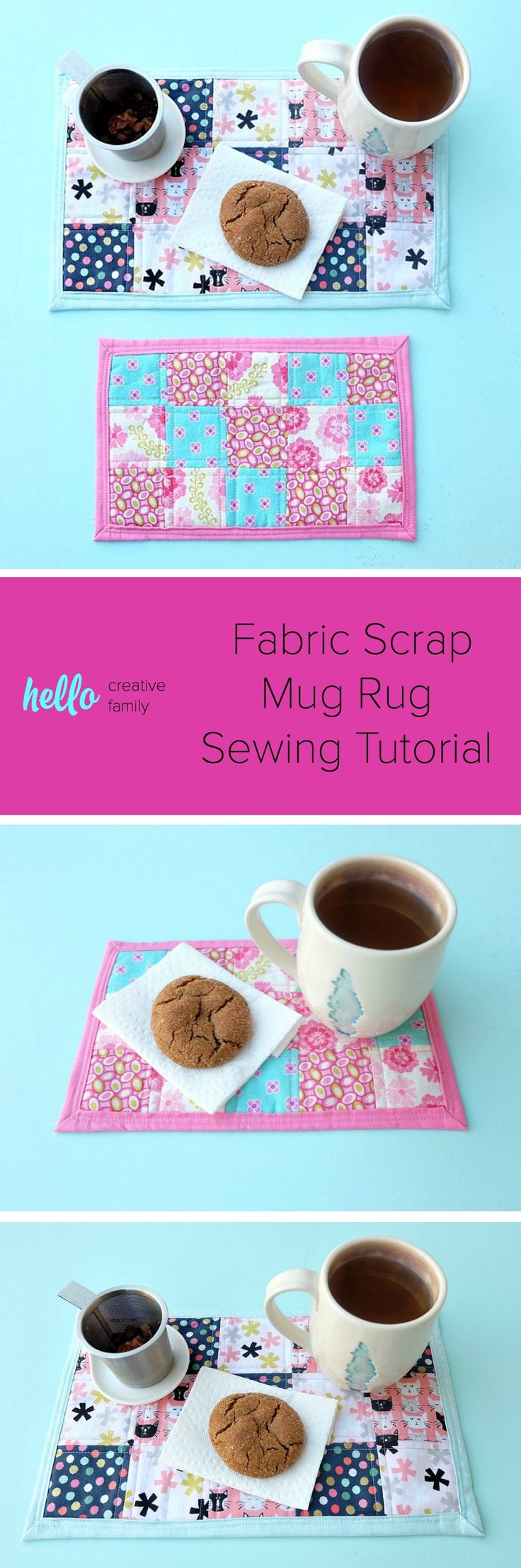 Bigger than a coaster and smaller than a placemat, a mug rug is a great handmade gift for coffee and tea drinkers! A great sewing project for beginners, this fabric scrap mug rug tutorial is easy, with step by step photos and inexpensive to make! Cut the fabric with your Cricut Maker or by hand! #sewing #diy #craft #Cricutmaker