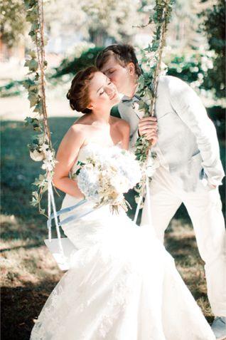 Decorated swing for a wedding | Anastasiya Belik Photography | http://burnettsboards.com/2013/12/powder-blue-white-wedding/