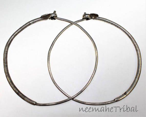 Vintage Tribal Silber Ohrringe aus Afghanistan Zentral Asien