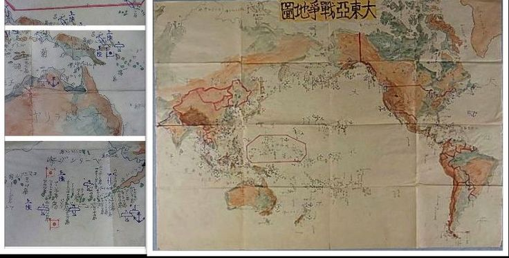 A large and rare child's hand drawn map depicting the Great East Asia War (大東亜戦争)  1941-1945, showing conflict zones. Most likely a classroom project.