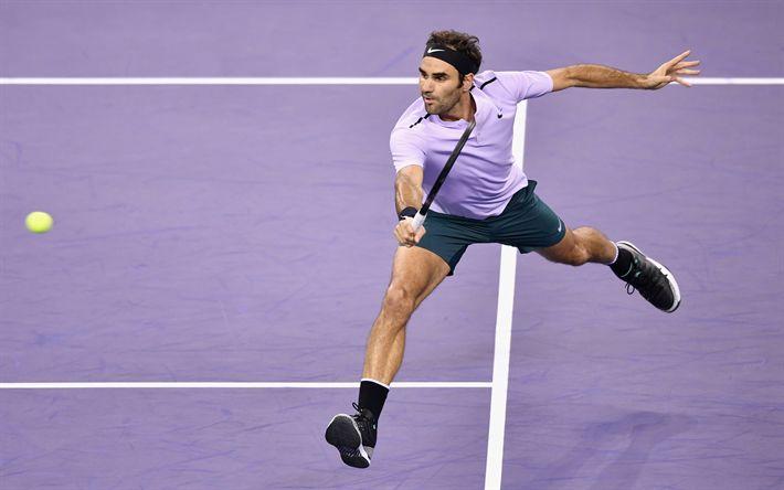 Download wallpapers Roger Federer, ATP, 4?, Swiss tennis player, tennis court, tennis, shanghai 2017