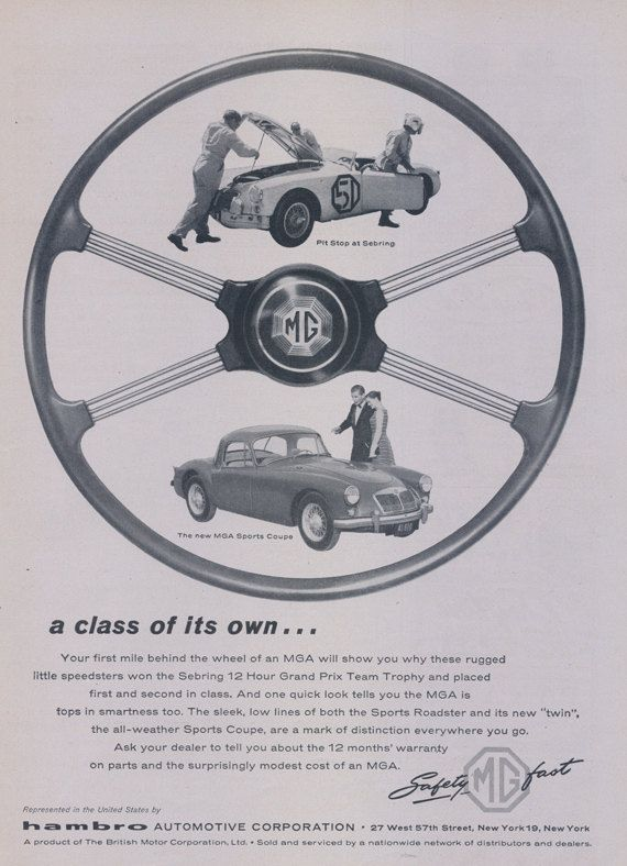1957 MG Car Ad Classic Sterring Wheel MGA Sports by AdVintageCom