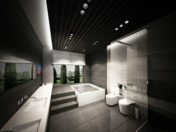 salle bain sobre noire | Salles de bain modernes | Salle de ...