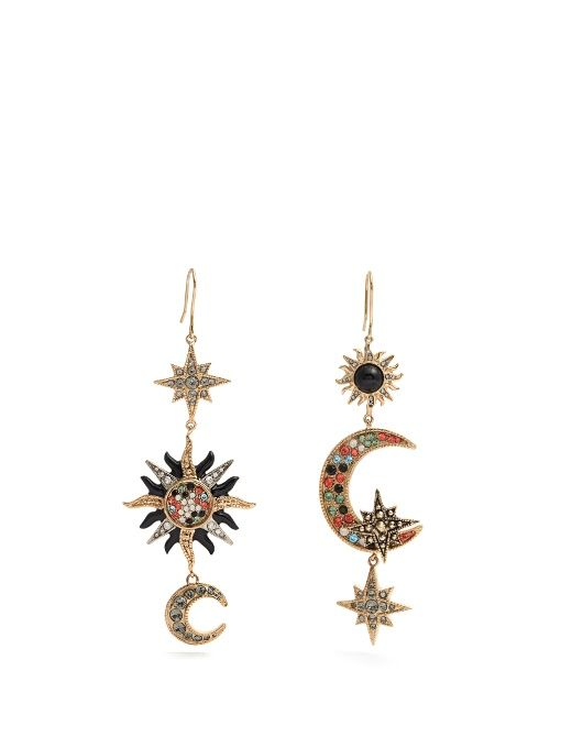Roberto Cavalli // Sun, Star + Moon-Embellished Drop Earrings