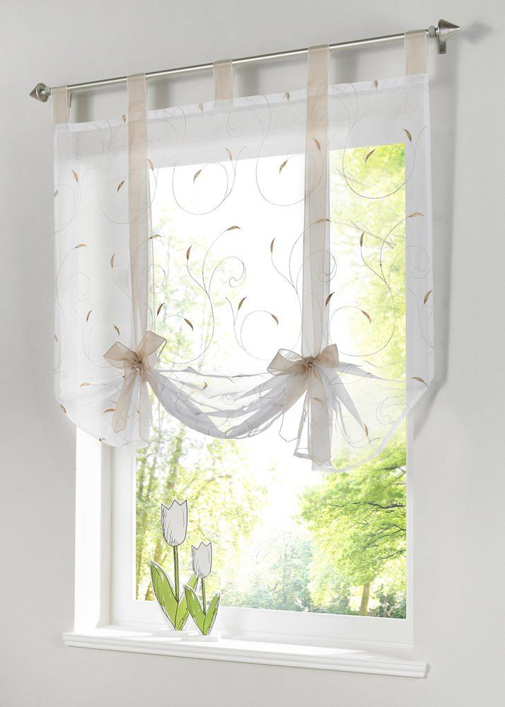 Uphome 1pc Adorable Bowknot Embroidered Floral Tie-Up Roman Curtain - Tab Top…