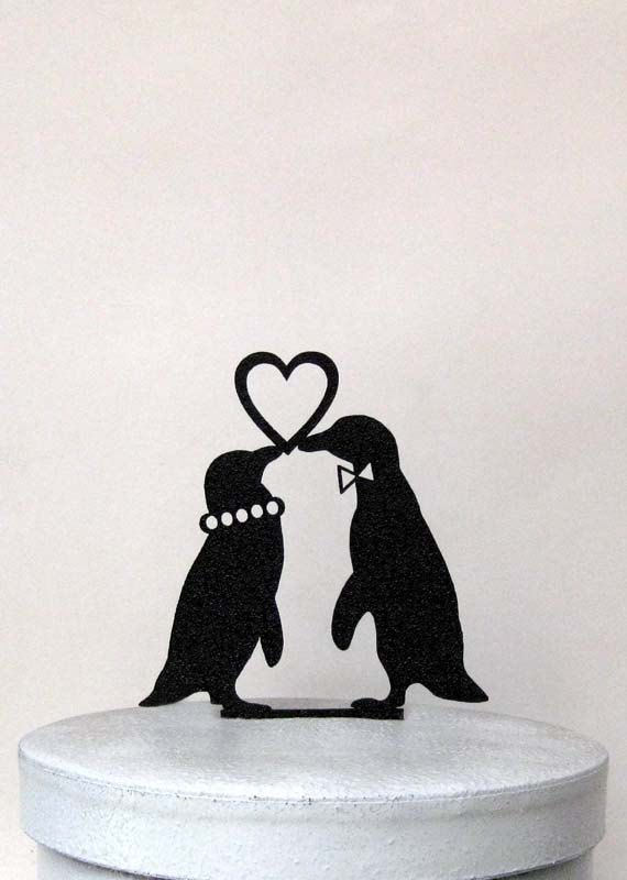 Wedding Cake Topper  Penguins in Love wedding cake by Plasticsmith
