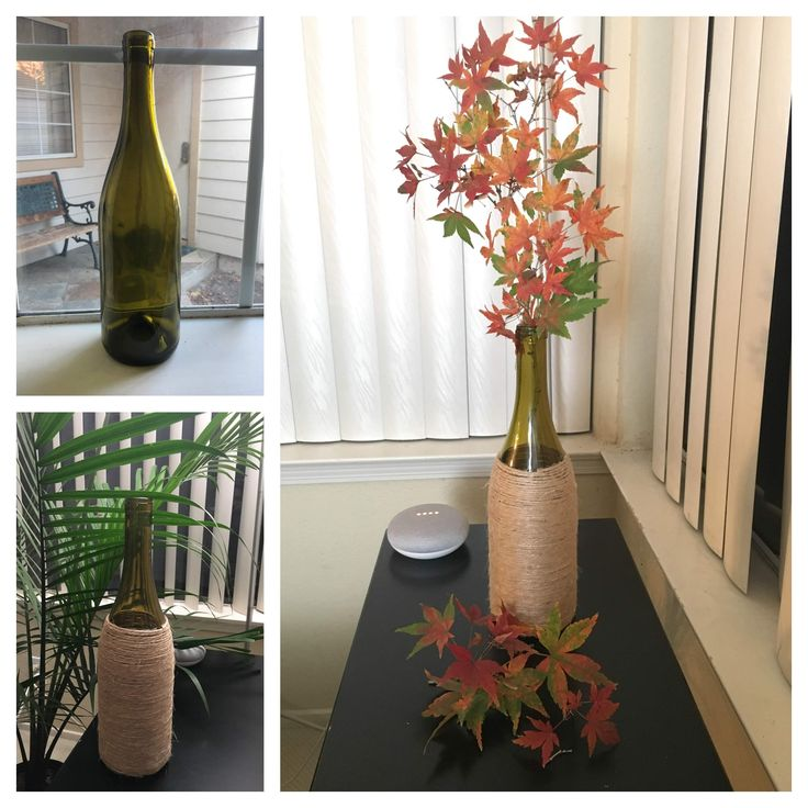 Jute wrapped bottles for home decor Materials used: Empty ...