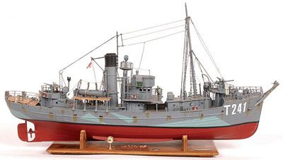 """Handbuilt Scale Model Of A Naval Trawler """"HMT Sir Kay"""" Named after my favorite Arthurian knight!"""