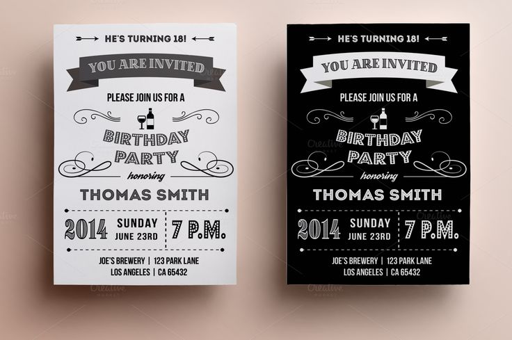 Retro Birthday Invitation By Annago On Creative Market My Style - Birthday invitation cards tumblr