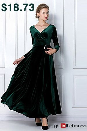 345d198a3e24 Women s Velvet Plus Size Going out Sheath Dress - Solid Colored High Waist  V Neck Purple Wine Royal Blue XL XXL XXXL   Loose