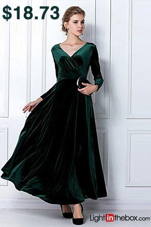 9482a8c00461 Women s Velvet Plus Size Going out Sheath Dress - Solid Colored High Waist  V Neck Purple Wine Royal Blue XL XXL XXXL   Loose