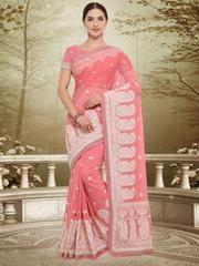 Pink Color Georgette Designer Party Wear Sarees : Swatir Collection YF-64535