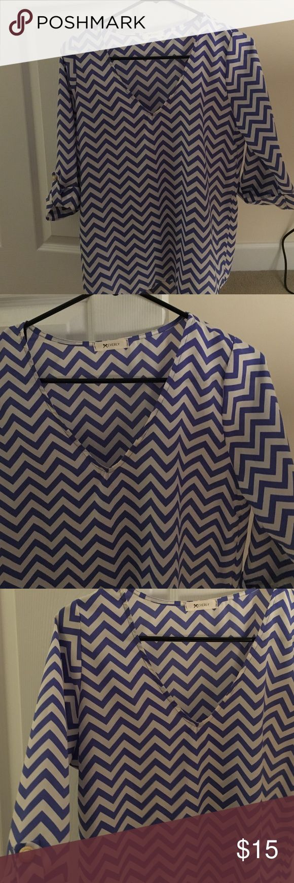 Everly Chevron Top Everly, purple Chevron 3/4 sleeve top Everly Tops Blouses