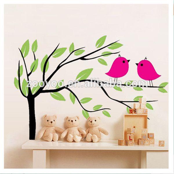 zooyoo yeni bebek yağ kuş kreş pvc duvar çıkartma anaokulu duvar sticker ev dekor çıkarılabilir su geçirmez duvar kağıdı