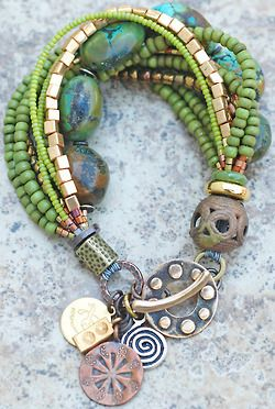 Green, blue and copper bracelet