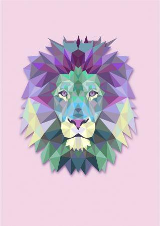 Geometric lion head art print | hardtofind.