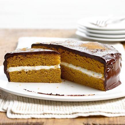 Pumpkin Cream Cheese Sandwich Cake: A cream cheese layer and rich chocolate frosting make this pumpkin cake a crowd-pleaser.