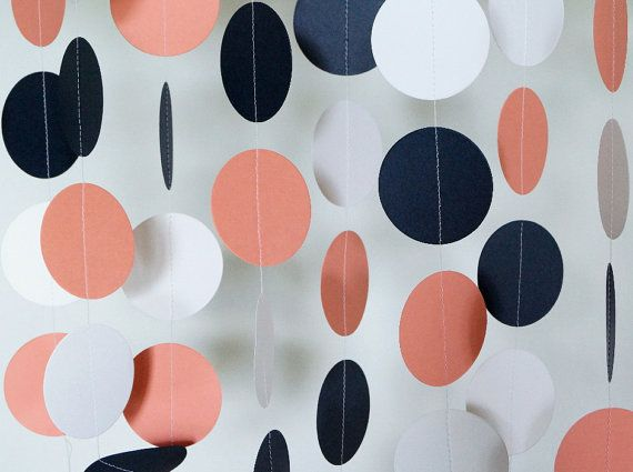 Coral, navy and white paper garland, perfect for a bridal shower, wedding, baby shower, etc. This garland is made from cardstock circles which are machine sewn with white thread. I have left plenty of extra thread on each end to assist in hanging the garland, but you can always