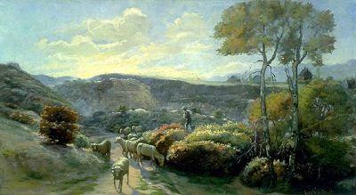"""Lorus Pratt's Paintings, 1891-1901, """"Shepherd and His Flocks"""" – 1893  Oil On Canvas – 18"""" x 32"""""""