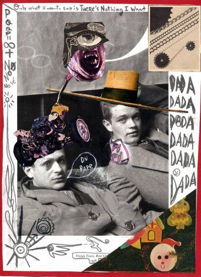 Tristan Tzara, René Crevel (Man Ray rectificado) > Erik Hurtado Saura > retrato cartulina