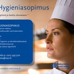 Raksystems Anticimex hygieniapalvelut -ilmoitus. Lisäksi lukuisia A4 palveluesitteitä ja kuvauksia tuotettu, kts. anticimex.fi ja raksystems.fi