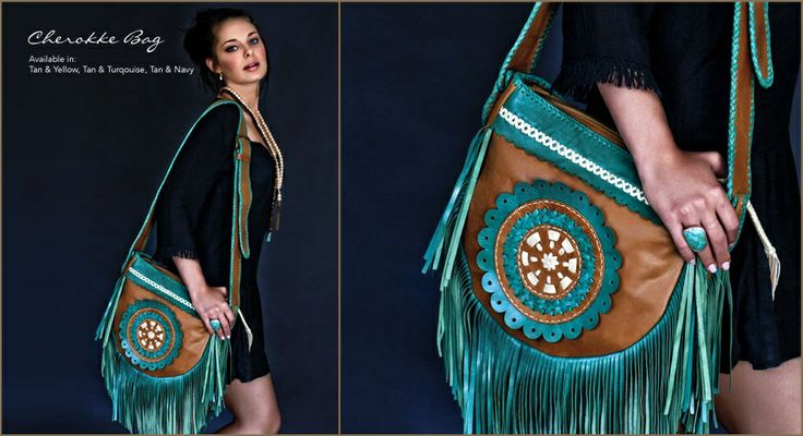 Leather Bohemian Bag In Tan and  Turquoise Cherokee. Online at Tigani Lux