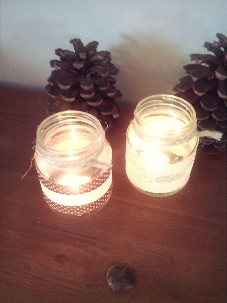 portavelas, washi tape, velas decoracion, reciclaje, tarros de vidreo