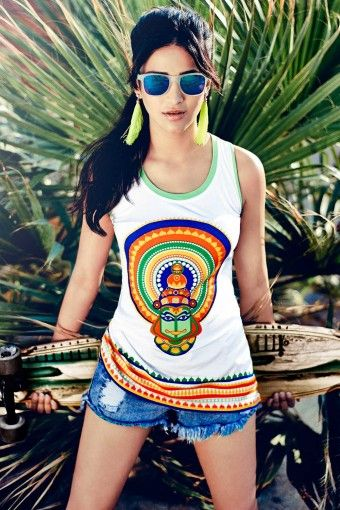 Shruti Hassan in Haute Curry Ladies Jersey Kathakali Racerback Mix-and-Match Top