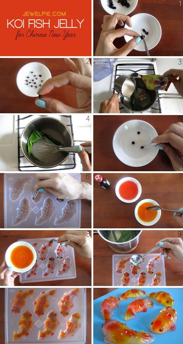 Photo tutorial on how to make Koi Fish Jelly    Further instructions here: http://jewelpie.com/koi-fish-jelly-for-chinese-new-year/