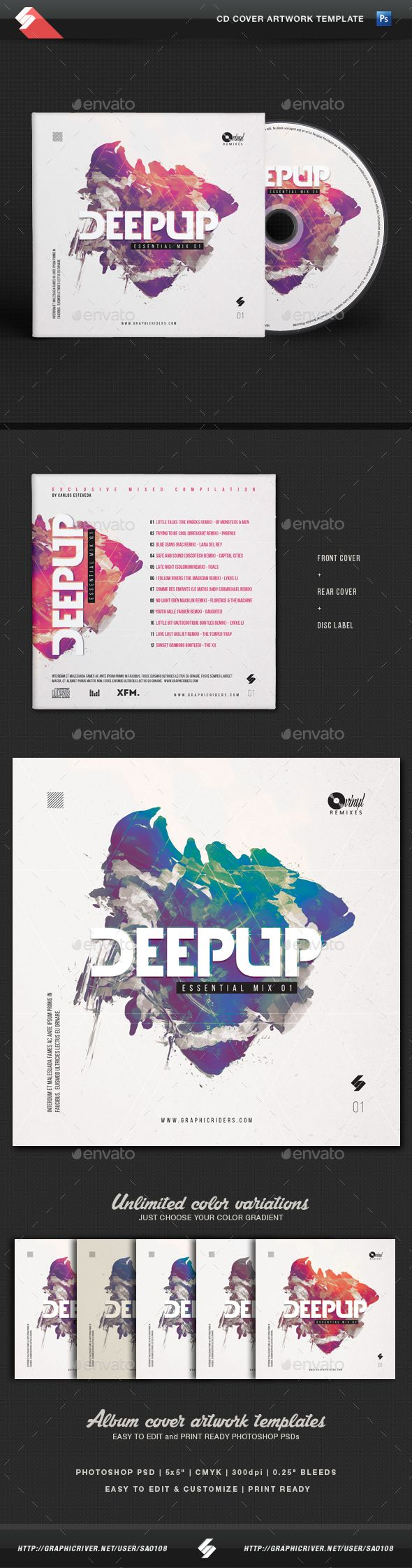 Deep Up  Dj Mix CD Cover Artwork Template — Photoshop PSD #multicolor #electro • Available here → https://graphicriver.net/item/deep-up-dj-mix-cd-cover-artwork-template/14879611?ref=pxcr