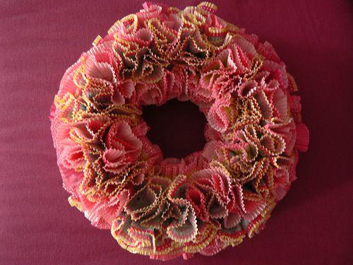 pink cupcake liner wreath
