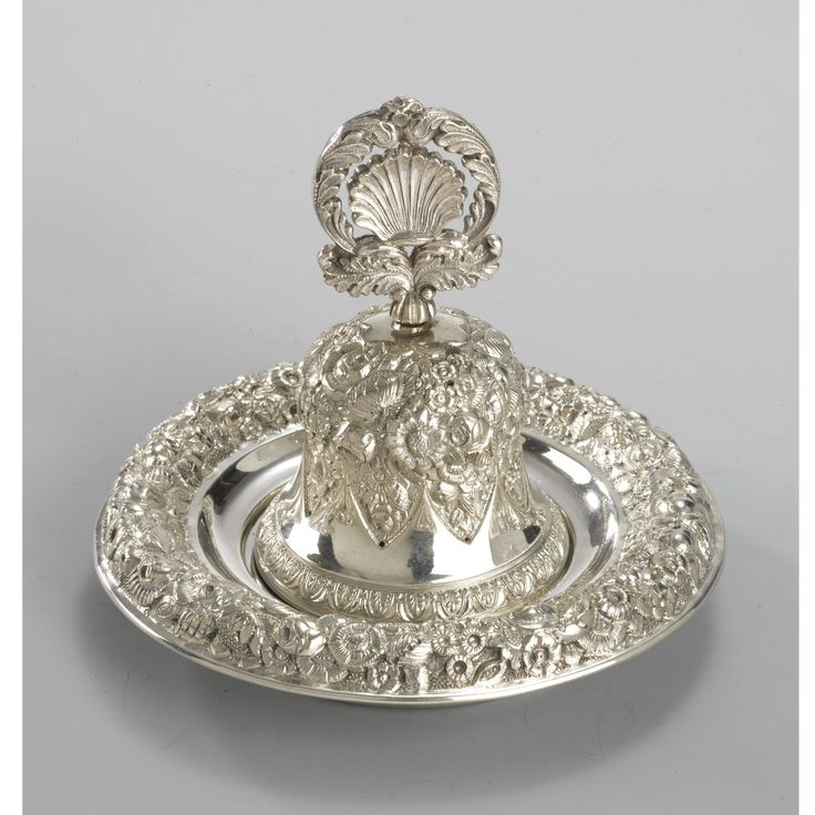 AN AUSTRO-HUNGARIAN SILVER TABLE BELL ON A STAND, VIENNA,1834