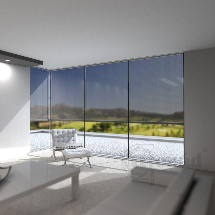 Az új sarok Fixscreen esztétikus megoldás ,  a modern épületek nagy üvegfelületű sarokablakainak stílusos árnyékolására.